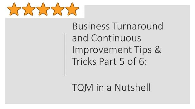 business turnaround and continuous improvement tips and tricks part 5 of 6, TQM in a nutshell, total quality management ,shruti bhat