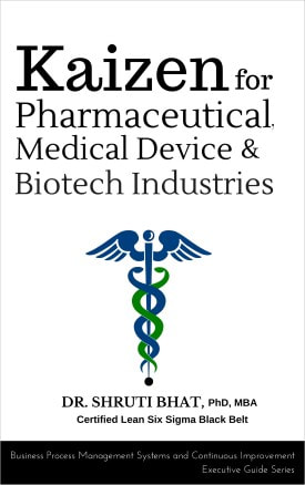 kaizen for pharmaceutcials, medical devices and biotech industry book by Dr Shruti Bhat