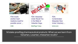 Mistake proofing pharmaceutical products, what can we learn from valsartan, losartan, irbesartan recalls, #DrShrutiBhat, continuous improvement