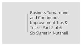 business turnaround tricks and tips part 2 of 6 six sigma methodology, shruti bhat