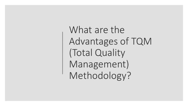 What are the advantages of TQM Total Quality Management methodology